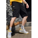 Men's Summer New Fashion Letter Embroidery Black Cotton Drawstring Waist Relaxed Cargo Shorts with Side Pockets