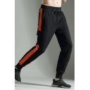 Men's New Fashion Colorblock Patch Side Flap Pocket Drawstring Waist Casual Running Sweatpants