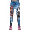 Trendy Womens Elastic Waist Halloween Jack and Sally Skull Character Print Skinny Pants Leggings