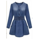 Fashion Round Neck Long Sleeve Pocket-Front Elastic Waist Slim Leisure Mini Denim A-Line Dress