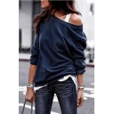 Womens Stylish Plain Cold Shoulder Long Sleeve Pullover Sweatshirt
