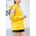 Girls Stylish Hollow Out Long Sleeve Letter Drawstring Loose Fit Hoodie