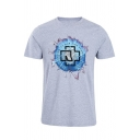 Unique Circle Letter Print Round Neck Short Sleeve Fitted T-Shirt