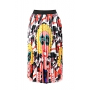 Summer Sweet Womens Elastic High Waist Cartoon Print Casual Loosen Midi Skirt