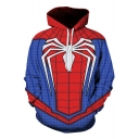 Trendy Blue and Red Spider Print Casual Loose Unisex Cosplay Hoodie
