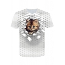 New Stylish Cool 3D White Wall Cat Print Round Neck Short Sleeve Casual Tee