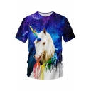 Blue Starry Galaxy Unicorn 3D Print Round Neck Short Sleeve Tee