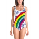 Womens Summer Popular Rainbow Printed Scoop Neck Sleeveless Slim One-Piece Swimsuit
