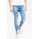 Men's Trendy Light Blue Plain Washed Stretch Skinny Distressed Ripped Jeans