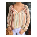 Stylish Women Tied V Neck Colorblock Striped Print Long Sleeve Loose Blouse