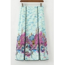 New Trendy Summer Venice Oil Painting Print Double Slit Fancy Straight Midi Holiday Skirt