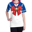 Stylish New Arrival Womens Round Neck Short Sleeve Sailor Moon Graphic Tee