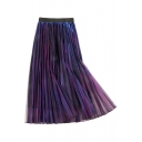 Summer Womens Hot Stylish High Waist Reflective Pleated Midi Straight Mesh Skirt