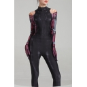 Womens Cool Unique Fashion Black Long Sleeve Printed Jumpsuit for Cosplay