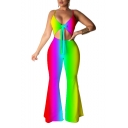 Summer New Trendy Straps Sleeveless Tie Dye Bow-Front Flare Leg Cutout Stretch Jumpsuits