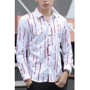 Mens Fashion Simple Striped Printed Long Sleeve Easy-Care Button Up Shirt