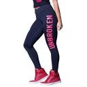 New Trendy Plain Elastic Waist UNBROKEN Letter Print Skinny Legging Pants