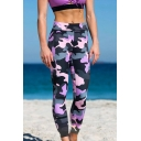 New Arrival Womens Purple High Waist Slim Fit Camo Legging Pants
