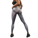 Womens Hot Fashion Grey High Waist Polka Dot Printed Colorblock Skinny Legging Pants