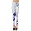 New Trendy Elastic Waist Sea Wave Printed Ankle Length Legging Pants
