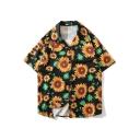 Mens Summer Holiday Allover Sunflower Printed Lapel Collar Short Sleeve Black Beach Hawaiian Shirt