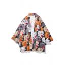 Guys Fashion Allover Tiger Pattern Three-Quarter Sleeve Loose Casual Kimono Blouse