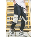 New Fashion Colorblock Multi-pocket Drawstring Waist Men's Black Cotton Casual Cargo Pants