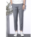 Guys Fashion Simple Plain Slim Fit Straight Tailored Suit Pants Dress Pants