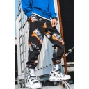 Guys Popular Fashion Fire Dollar Printed Casual Loose Hip Pop Outdoor Track Pants