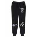 Popular Fashion Letter LONG LIVE THE KING Scratch Printed Drawstring Waist Guys Casual Jogging Sweatpants