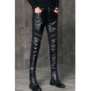 Men's Cool Fashion Solid Color Crisscross Side Zipper Embellished Black Leather Casual Pants