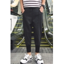 Men's New Fashion Simple Plain Zippered Pocket Behind Drawstring Waist Dark Grey Loose Tapered Pants