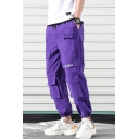 Men's Street Style Fashion Letter Printed Drawstring Waist Casual Loose Track Pants Multi-pocket Cargo Pants