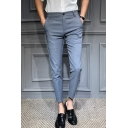 Men's Hot Fashion Popular Plaid Pattern Easy-Care Slim Fitted Casual Dress Pants