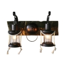 Retro Loft Kerosene Wall Light Resin Two Lights Black Sconce Light for Cafe Restaurant