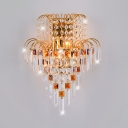 Elegant Crystal Decoration Wall Light Metal Gold Finish Sconce Light for Living Room Hotel
