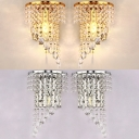 One Light Candle Sconce Light Elegant Stylish Metal Wall Lamp with Clear Crystal in Gold/Silver for Hotel