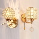 Kitchen Cylinder/Globe Wall Light Metal 1 Head Contemporary Gold Sconce Light with Clear Crystal