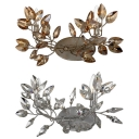 Metal Candle Sconce Light with Crystal Leaf 2 Heads Rustic Stylish Wall Light in Antique Gold/Silver