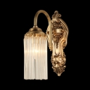 Cylinder Villa Foyer Wall Light with Tube Crystal Metal 1/2 Head Vintage Wall Lamp in Gold