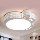 Apple/Fish/Squirrel Flush Ceiling Light Metal Lovely Ceiling Lamp in White for Child Bedroom