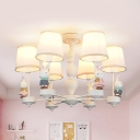 Lovely White Pendant Light Bunny Rabbit 6 Heads Metal Chandelier with Tapered Shade for Child Bedroom
