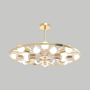 Metal Ferris Wheel Chandelier 16 Heads Contemporary Pendant Light in Gold for Dining Room