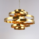 Luxurious Multi-Tier Ring Chandelier 9/12 Heads Metal Hanging Light in Gold for Restaurant