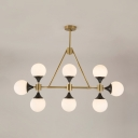 Opal Glass Sphere Island Pendant 8 Lights Contemporary Island Light in Gold for Dining Table
