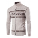 Mens Trendy Solid Color Stand Collar Long Sleeve Zip Up Cable Knit Fitted Cardigan Sweater