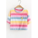 Cute Rainbow Stripe Printed Round Neck Short Sleeve Casual Cropped T-Shirt