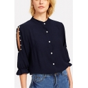 Chic Simple Plain Beading Embellished Cutout Sleeve Button Down Shirt Blouse