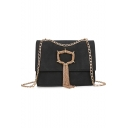 Trendy Solid Color Hardware Tassel Embellishment Chain Strap Frosted Crossbody Bag 22*3*17 CM