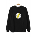 The Flash Simple Logo Printed Round Neck Long Sleeve Casual Loose Sweatshirt